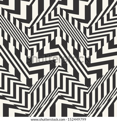 Abstract striped textured chevron optical illusion. Seamless pattern.