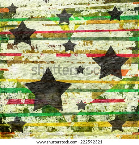 abstract stripes and stars design with wood grain texture  - stock photo