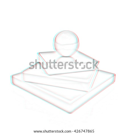 Abstract  structure. Japanese still life on a white background. Pencil drawing. 3D illustration. Anaglyph. View with red/cyan glasses to see in 3D. - stock photo