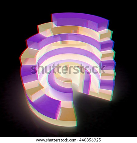 Abstract structure on a black background. 3D illustration. Anaglyph. View with red/cyan glasses to see in 3D. - stock photo