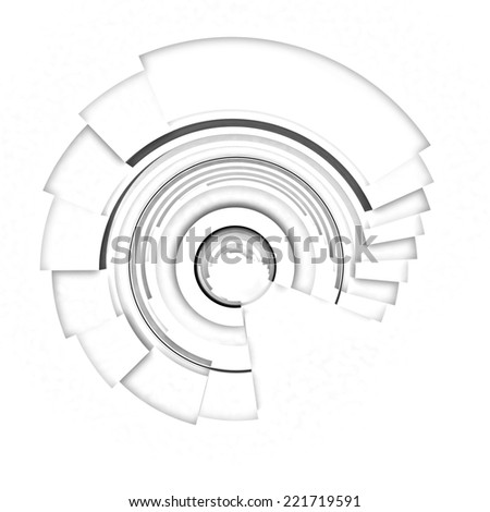 Abstract structure with bal in the center on a white background. Pencil drawing - stock photo