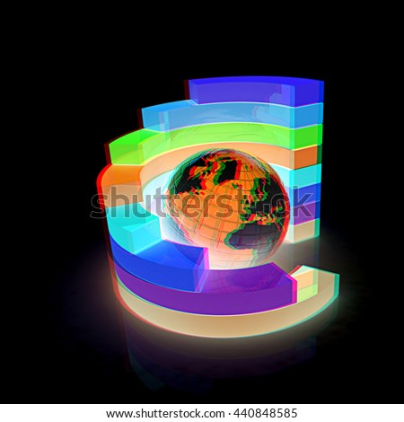 Abstract structure with earth in the center on a black background. 3D illustration. Anaglyph. View with red/cyan glasses to see in 3D. - stock photo