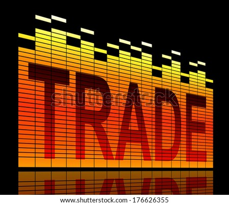 Abstract style illustration depicting graphic equalizer level bars with a trade concept. - stock photo
