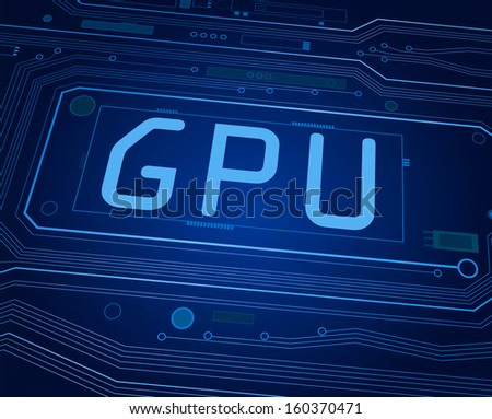 Abstract style illustration depicting printed circuit board components with a GPU concept. - stock photo