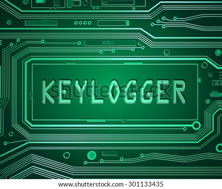 Abstract style illustration depicting printed circuit board components with a keylogger concept. - stock photo