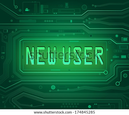 Abstract style illustration depicting printed circuit board components with a new user concept. - stock photo