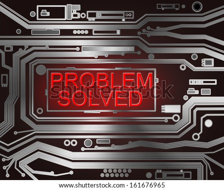 Abstract style illustration depicting printed circuit board components with a problem solved concept.. - stock photo