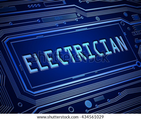 Abstract style illustration depicting printed circuit board components with an electrician concept. - stock photo