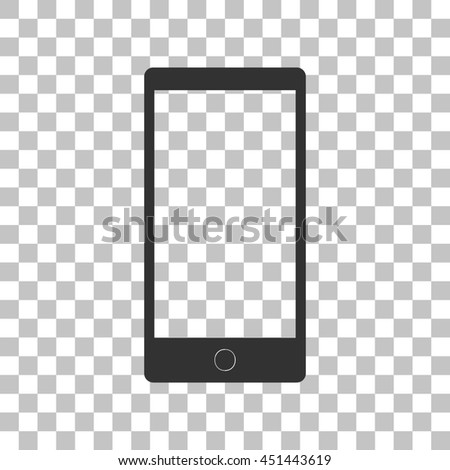Abstract style modern gadget with blank screen. Template for any content. Dark gray icon on transparent background. - stock photo
