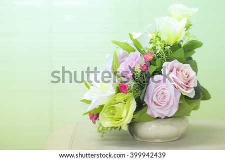 Abstract style soft sweet tone of artificial flowers.
