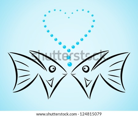 Abstract stylized fishes in love. Raster version - stock photo
