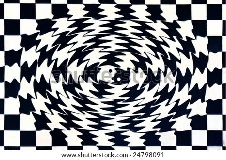 abstract stylized yin yang as a kiss, mosaic - stock photo