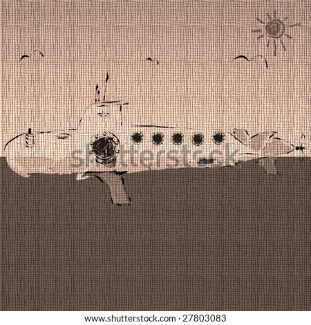 Abstract submarine sketch made on textured canvas - stock photo