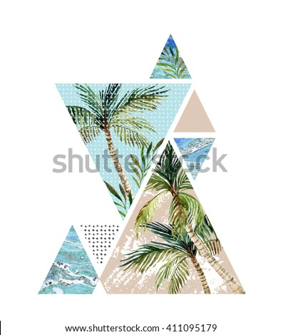 Abstract summer background. Triangle with palm tree, leaf and marble grunge textures. Geometric design for t-shirt, flyer or poster in retro vintage 80s, 90s. Hand painted summer beach illustration  - stock photo
