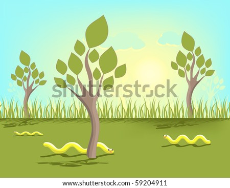 Abstract summer illustration with worms and trees - stock photo