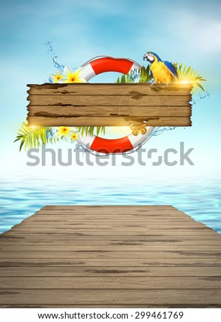 Abstract summer invitation poster or flyer background with empty space - stock photo