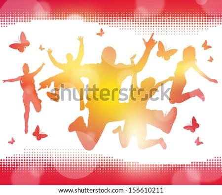 Abstract Summer Jumping Youths. Fabulous illustration of a group of Jumping Youths against a Summery Blur background. - stock photo