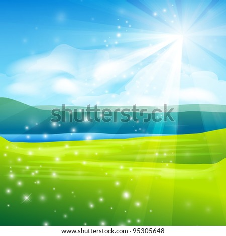 abstract summer landscape background - stock photo