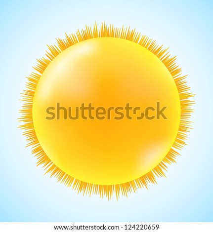 Abstract sun icon on blue sky. Raster version - stock photo