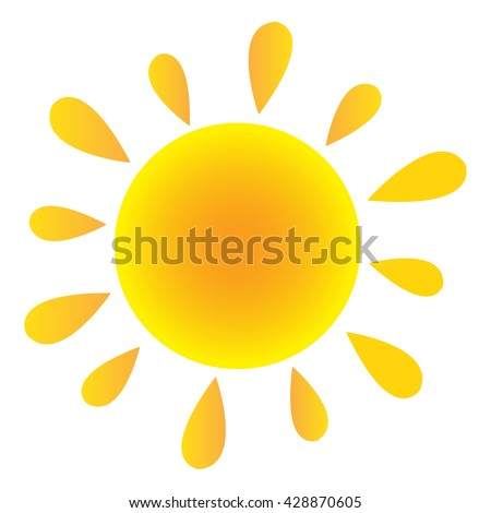 Abstract Sun In Gradient. Raster Illustration Isolated On White Background - stock photo