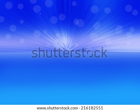 Abstract sun on blue effect background  - stock photo