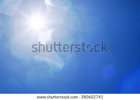 abstract sun with lens flare and pentagon bokeh. - stock photo