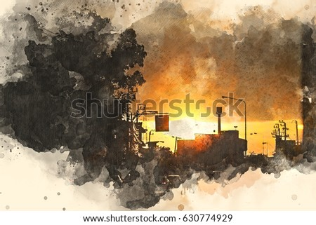 Abstract sunlight, Sunset on watercolor painting background. Sunlight