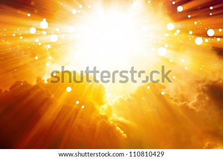 Abstract sunset background - bright sun shines from above, red clouds - stock photo