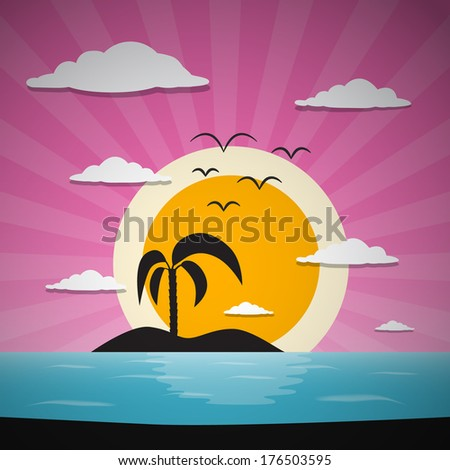 Abstract Sunset Ocean Background with Palm, Island, Clouds and Birds - stock photo