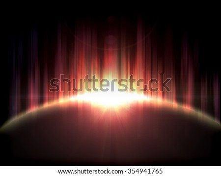 Abstract sunset on the planet in space