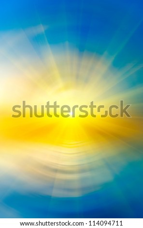 Abstract sunset on the sea background with sun rays - stock photo