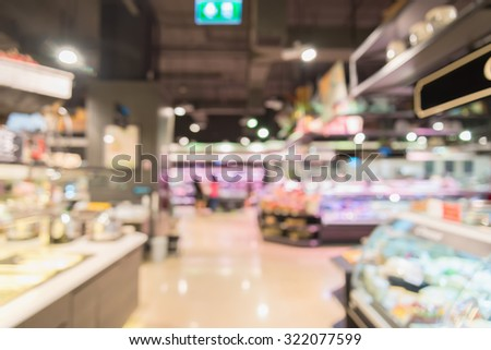 Abstract supermarket blurred background with bokeh in shopping mall. - stock photo