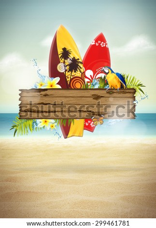 Abstract surf and summer invitation poster or flyer background with empty space - stock photo