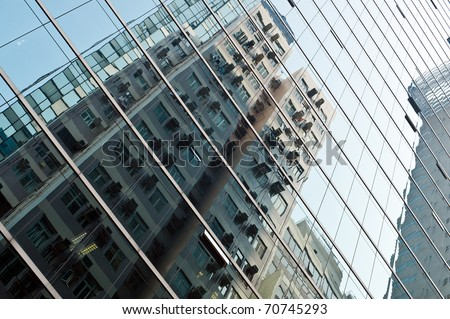Abstract surface with reflection of a building, Hong Kong