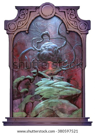 Abstract surreal illustration framed with a stone decorated hand drawn arch - stock photo