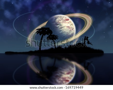 Abstract surreal tropical island silhouette and teen couple. - stock photo