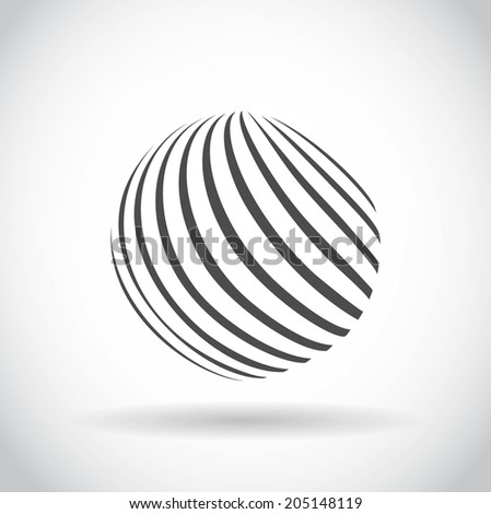 Abstract swirl sphere globe symbol, business concept template of isolated round icon with shadow on white background. Business, corporate, office and marketing item icon. Raster version - stock photo
