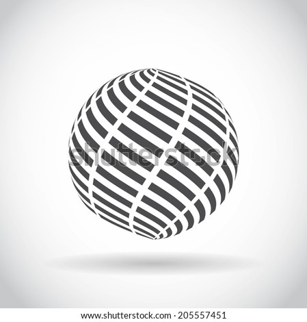 Abstract swirl sphere globe symbol, business concept template of isolated round icon with shadow on white background. Business, corporate, office and marketing item icon. Logo design. Raster version - stock photo