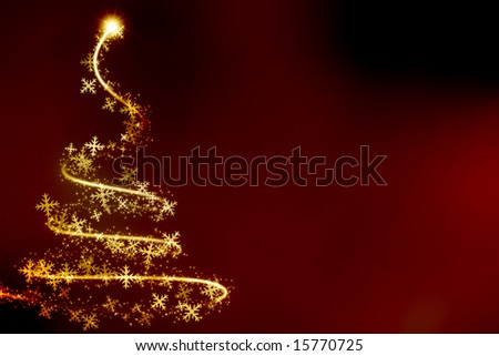 Abstract swirling christmas tree on a red background