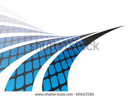 Abstract swoosh lines illustration with a grid of rounded squares isolated over white.