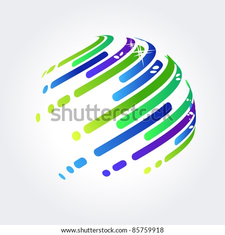 Abstract symbol made of blue and green stripes. Raster version. - stock photo