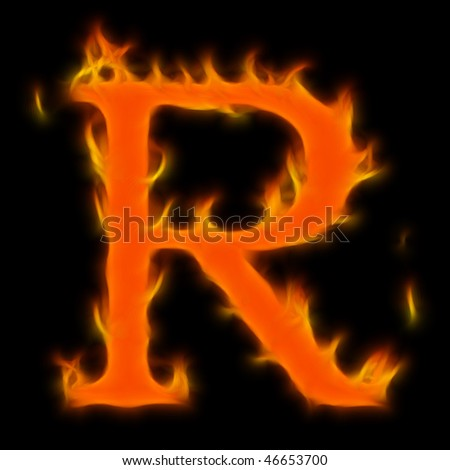Abstract symbol of alphabet. Flame-simulated on black background. - stock photo