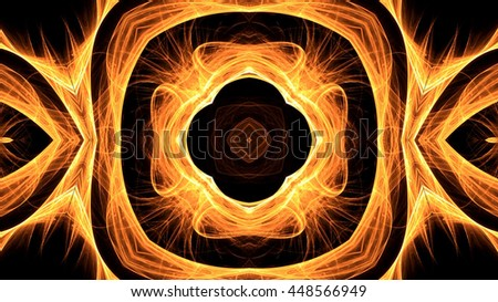 Abstract symbols in fire