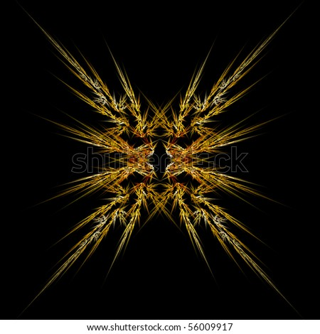 Abstract symmetrical fractal background on a black background - stock photo