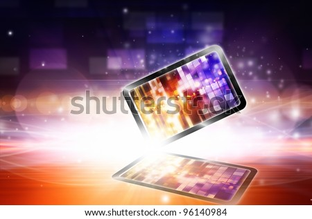 Abstract tablet PC on bright light background - stock photo