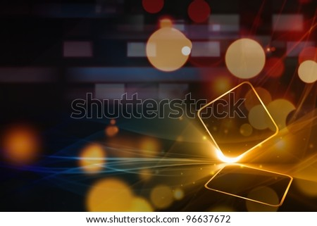 Abstract tablet PC on dark background with bright lights - stock photo