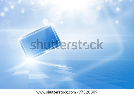 Abstract tablet PC, pad in blue sky with bright sun