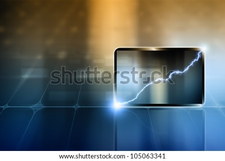 Abstract tablet PC, smartphone. Lightning - concept of success, progress, improvement.
