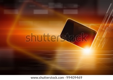 Abstract tablet PC, smartphone on dark background with bright light. Overheating problem.