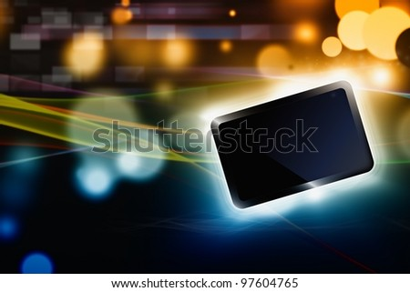 Abstract tablet PC, smartphone on dark background with bright lights - stock photo